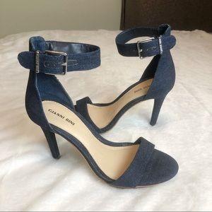 "Gianni Bini Denim Stappy Sandals 4"" Heels 8-1/2"